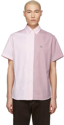 Lanvin Red and Pink Multistripe Short Sleeve Shirt