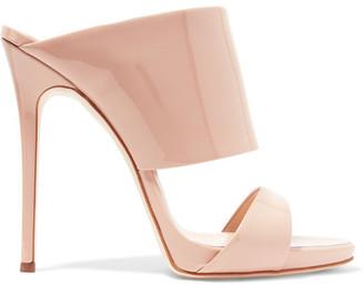 Giuseppe Zanotti - Andrea Patent-leather Mules - Beige $675 thestylecure.com