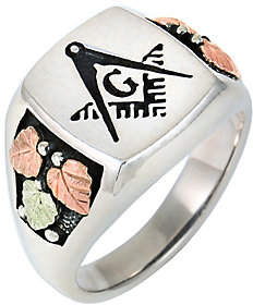 Black Hills Men's Masonic Oxidized Ring, Sterling and 12K Gold