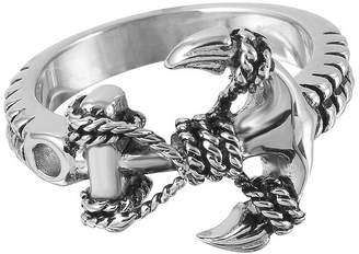 FINE JEWELRY Mens Stainless Steel Braided Anchor Ring