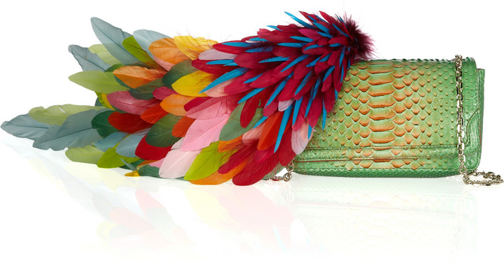 Christian Louboutin 20th Anniversary Artemis Plumes python shoulder bag