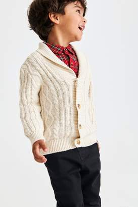 Next Boys Ecru Cable Knit Cardigan (3mths-7yrs) - Cream
