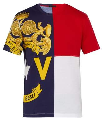 Versace Logo Print Panelled Cotton T Shirt - Mens - Multi