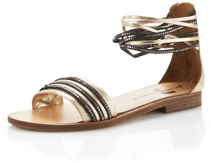 7 For All Mankind Caprice Flat Ankle-Wrap Sandal, Gold