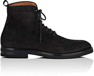 Antonio Maurizi MEN'S MEDALLION-TOE SUEDE WINGTIP BOOTS