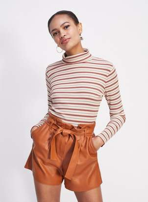 Miss Selfridge Rust PU Paperbag Shorts