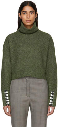 3.1 Phillip Lim Green Folk Textured Cropped Turtleneck
