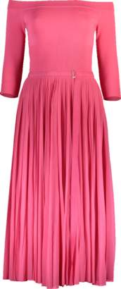Alexander McQueen Off Shoulder Dress With Pleated Skirt