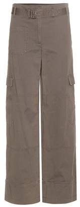 Helmut Lang Wide-leg cotton and linen cargo trousers