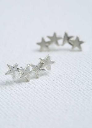 Mint Velvet Silver Tone Star Cuff Earrings