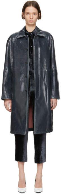 Sies Marjan Grey Lacquered Wool Raglan Coat