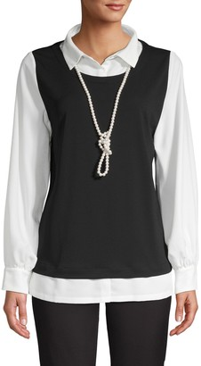 Karl Lagerfeld Paris Layered Colorblock Blouse