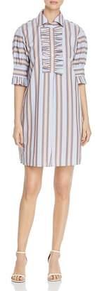 Tory Burch Striped Ruffled Shirtdress