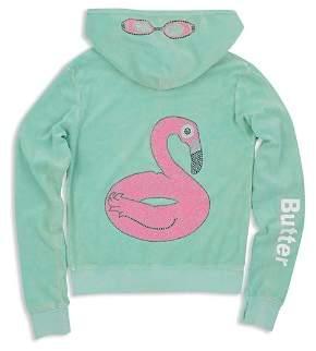 Butter Shoes Girls' Mineral-Wash Embellished Flamingo Float Fleece Hoodie - Big Kid
