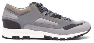 Lanvin Reflective Panel Suede And Leather Trainers - Mens - Grey