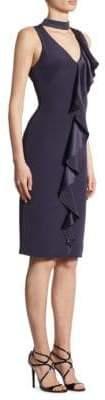 Theia Ruffle-Front V-Neck Choker Dress