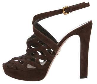 cf1919daba2 Prada Brown Suede Women s Sandals - ShopStyle