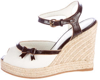 Louis Vuitton Louis Vuitton Leather Trim Canvas Wedges