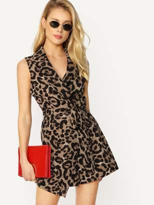 Shein Surplice Wrap Asymmetric Leopard Romper With Belt
