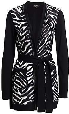 St. John Women's Fine Wool & Silk Zebra Cardigan