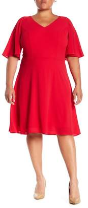 London Times Crepe Fit & Flare Dress (Plus Size)