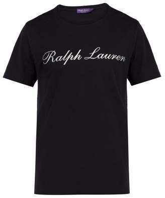 Ralph Lauren Purple Label Logo Print Cotton Jersey T Shirt - Mens - Navy