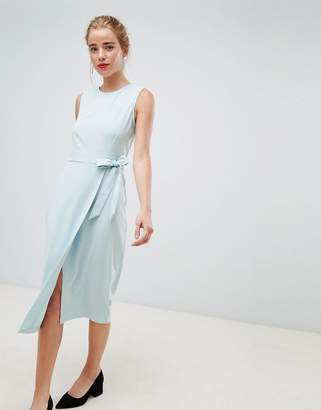 Closet London tie v-back pencil dress in sky blue