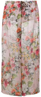 Blumarine sheer floral flared trousers