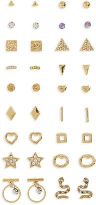 BP Set of 18 Hammered Stud Earrings