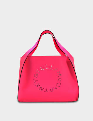 Stella McCartney Alter Nappa Fluo Tote Stella Logo Bag in Neon Pink Cotton and Eco Leather