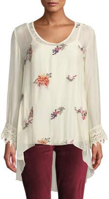 Moda Seta Floral Embroidery Lace-Cuff Blouse