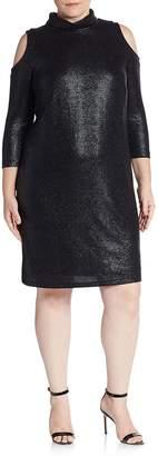 ABS by Allen Schwartz ABS, Plus Size Women's Textured Cold-Shoulder Turtleneck Dress - Black, Size 1x (14-16)
