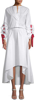 story. White Blouson Midi Dress