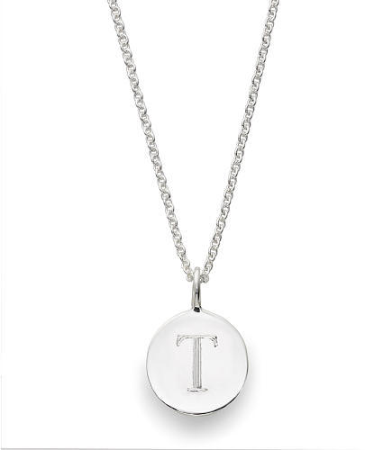 Sarah Chloe Sterling Silver Engraved T on 16 inch Cable Chain