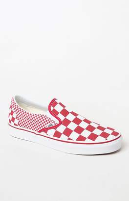 Vans Red Mix Checker Slip-On Shoes
