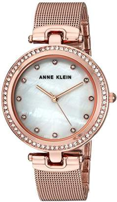 Anne Klein Women's AK/2972MPRG Swarovski Crystal Accented -Tone Mesh Bracelet Watch
