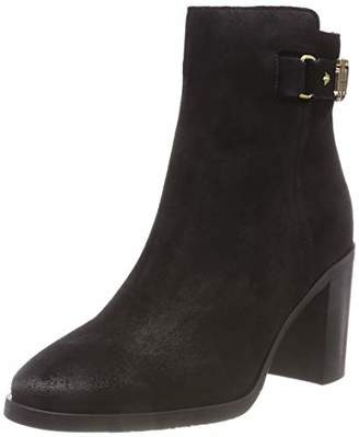 Tommy Hilfiger Women's Th Buckle Heeled Boot Suede Ankle (Black 990)