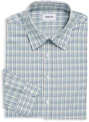 Hyden Yoo Men's Plaid Cotton Dress Shirt
