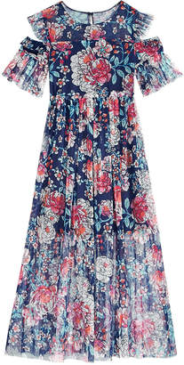 Bonnie Jean Big Girls Plus Floral-Print Cold Shoulder Maxi Dress