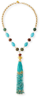 Devon Leigh Turquoise & Seed Bead Tassel Necklace