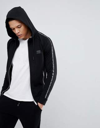 Antony Morato Hooded Jacket In Black With Side Stripe Detail