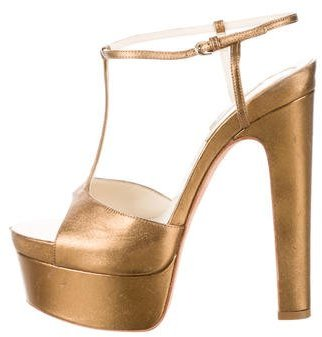Brian Atwood Metallic Platform Sandals $175 thestylecure.com