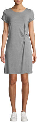 Neiman Marcus Knotted Crewneck T-Shirt Dress