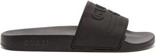 Gucci Logo Embossed Rubber Slides - Mens - Black