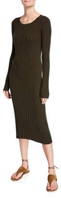 Vince Mixed Rib Scoop-Neck Long-Sleeve Dress