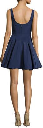 Monique Lhuillier Sleeveless Silk Faille Fit & Flare Dress, Navy