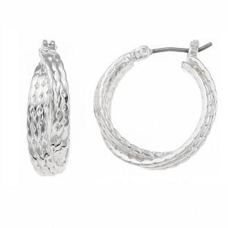 Napier Small Silver Tone Layered Double Hoop Earrings