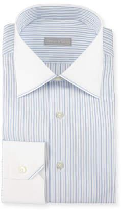 Stefano Ricci Contrast Collar/Cuff Striped Dress Shirt