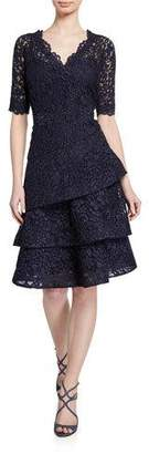 Rickie Freeman For Teri Jon Elbow-Sleeve Tiered Lace Dress