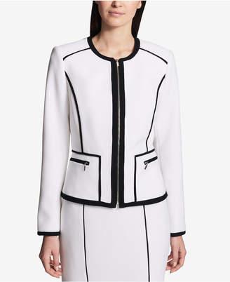 Calvin Klein Contrast-Piped Blazer, Regular & Petite